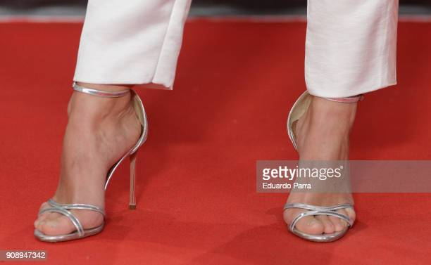 Actress Aura Garrido shoes detail attends Feroz Awards 2018 at Magarinos Complex on January 22 2018 in Madrid Spain
