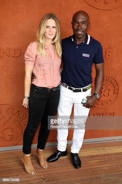 Actress Aurelie Nollet and Actor Lucien JeanBaptiste attend the 2018 French Open Day Seven at Roland Garros on June 2 2018 in Paris France