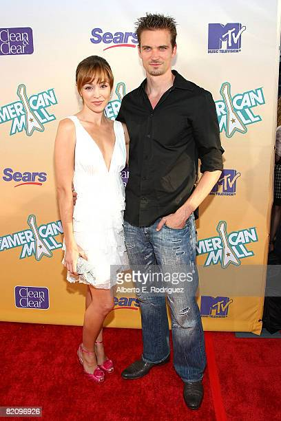 Actress Autumn Reeser and actor Jesse Warren arrive at the premiere of MTV's 'The American Mall' held at the Cinerama Dome on July 28 2008 in...
