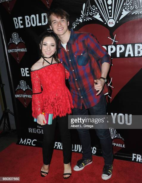 Actress Ava Cantrell and actor CJ Valleroy arrive for the Free2Luv Presents 'Unstoppable' held at the Regent Theater on March 10 2018 in Los Angeles...