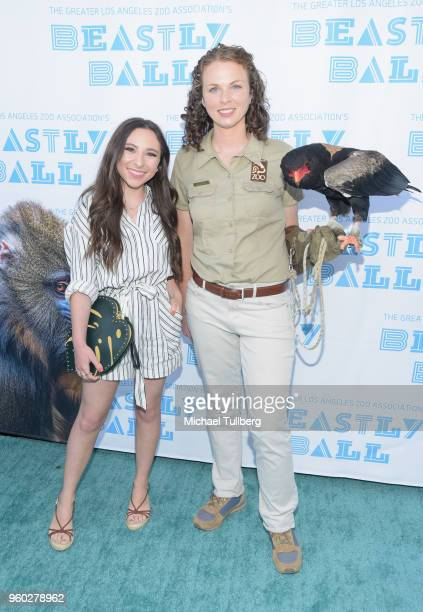 Actress Ava Cantrell and guest with Bateleur Eagle attend the Greater Los Angeles Zoo Association's 2018 Beastly Ball at Los Angeles Zoo on May 19...