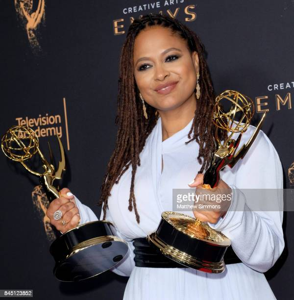 Actress Ava DuVernay poses in the pressroom during the 2017 Creative Arts Emmy Awards at Microsoft Theater on September 9 2017 in Los Angeles...