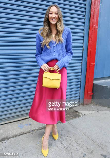 Actress Ava Michelle Cota is seen wearing a pink dress, yellow shoes and a yellow handbag at the Rebecca Minkoff show during New York Fashion Week on...