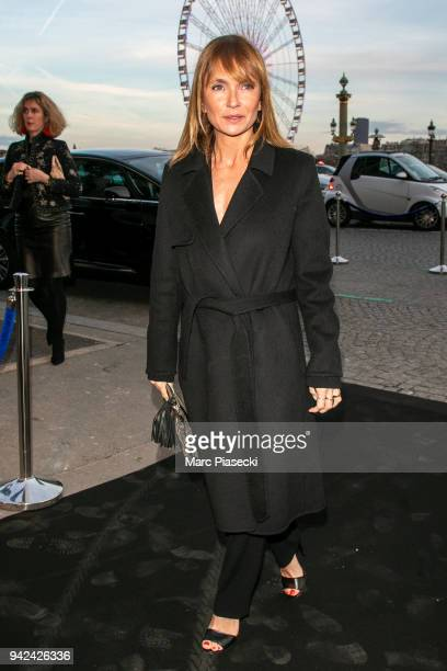 Actress Axelle Laffont arrives to attend the 'Madame Figaro' dinner at Automobile Club de France on April 5 2018 in Paris France