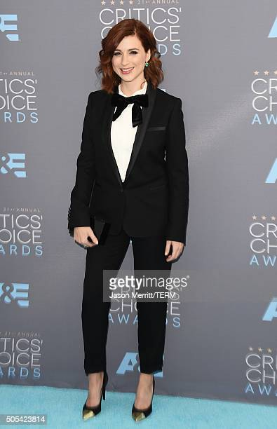 Actress Aya Cash attends the 21st Annual Critics' Choice Awards at Barker Hangar on January 17 2016 in Santa Monica California