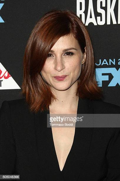 Actress Aya Cash attends the FX's Baskets red carpet premiere held at Pacific Design Center on January 14 2016 in West Hollywood California