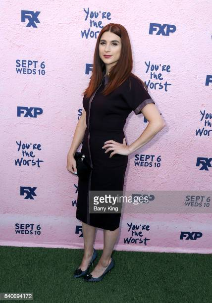 Actress Aya Cash attends the premiere of FXX's 'You're The Worst' Season 4 at Museum of Ice Cream LA on August 29 2017 in Los Angeles California