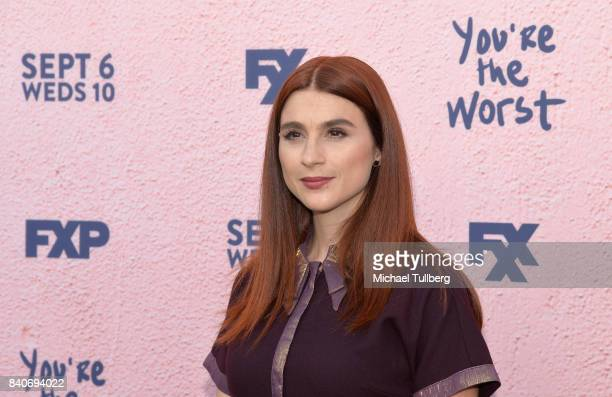 Actress Aya Cash attends the premiere of Season 4 of FXX's You're The Worst at Museum of Ice Cream LA on August 29 2017 in Los Angeles California