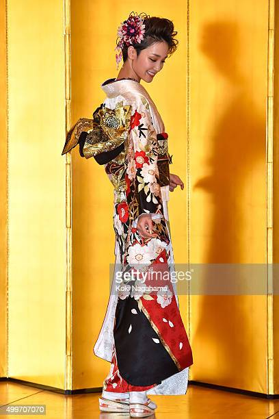 Actress Ayame Goriki attends the New Year's Kimono photocall for Oscar Promotion on December 3 2015 in Tokyo Japan