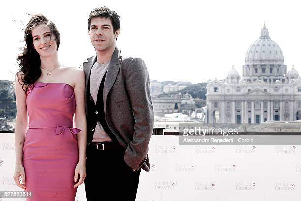Actress Ayelet Zurer and Italian actor Pierfrancesco Favino attend the photo call of movie Angels Demons prior its world premiere in Rome at St...