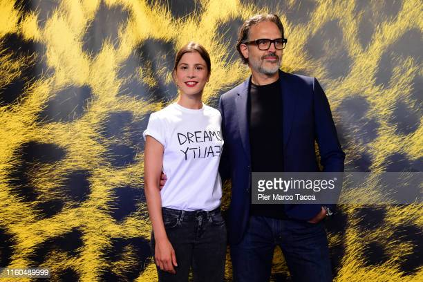 Actress Aylin Tezel and Actor Carlo Kitzlinger attend the '7500' photocall during the 72nd Locarno Film Festival on August 9, 2019 in Locarno,...