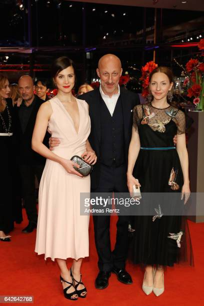 Actress Aylin Tezel wearing Boss film director Oliver Hirschbiegel actress Katharina Schuettler arrive for the closing ceremony of the 67th Berlinale...