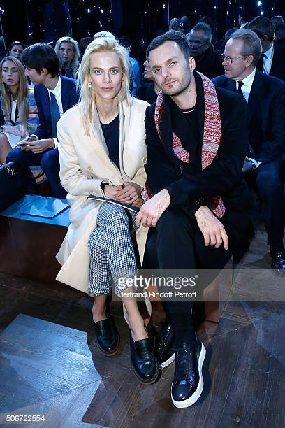 Actress Aymeline Valade and Stylist Kris Van Assche attend the Christian Dior Haute Couture Spring Summer 2016 show as part of Paris Fashion Week on...