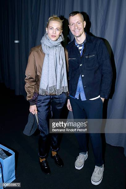 Actress Aymeline Valade and Stylist Lucas Ossendrijver attend the Lanvin Menswear Fall/Winter 20162017 show as part of Paris Fashion Week on January...