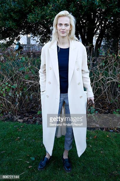 Actress Aymeline Valade attends the Christian Dior Spring Summer 2016 show as part of Paris Fashion Week Held at Musee Rodin on January 25 2016 in...