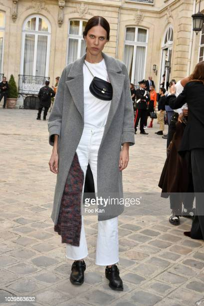 Actress Aymeline Valade attends the Jacquemus show as part of the Paris Fashion Week Womenswear Spring/Summer 2019 on September 24 2018 in Paris...