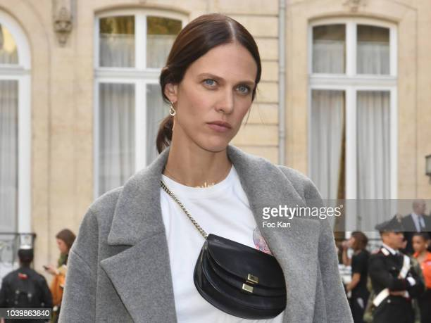 Actress Aymeline Valade attends the Jacquemus show as part of the Paris Fashion Week Womenswear Spring/Summer 2019 on September 24, 2018 in Paris,...