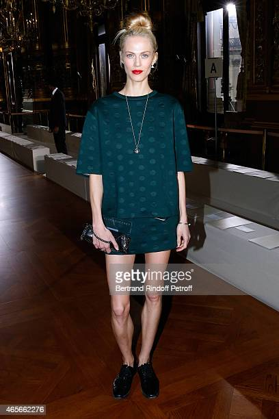 Actress Aymeline Valade attends the Stella McCartney show as part of the Paris Fashion Week Womenswear Fall/Winter 2015/2016 on March 9 2015 in Paris...