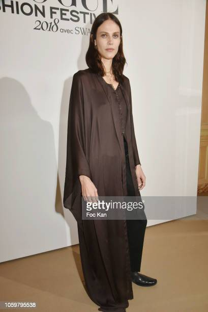 Actress Aymeline Valade attends Vogue Fashion Festival 2018 Dinner Photocall at Hotel Potocki on November 9 2018 in Paris France