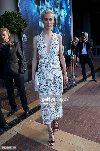 Actress Aymeline Valade leaves the Majestic Hotel during the 69th Annual Cannes Film Festival on May 20 2016 in Cannes