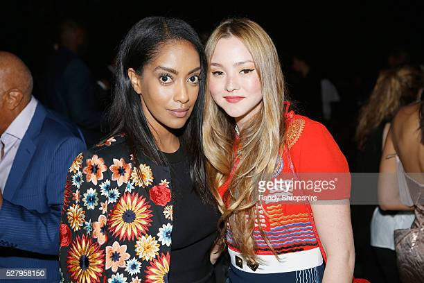 Actress Azie Tesfai and actress Devon Aoki attend Russell Simmons' Rush Philanthropic Arts Foundation's inaugural Art For Life Los Angeles at Private...
