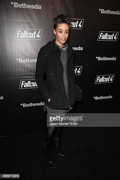 Actress AzMarie Livingston attends the Fallout 4 video game launch event in downtown Los Angeles on November 5 2015 in Los Angeles California