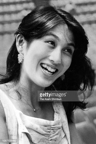 Actress Azusa Mano speaks during the Asahi Shimbun interview on July 21 1984 in Tokyo Japan