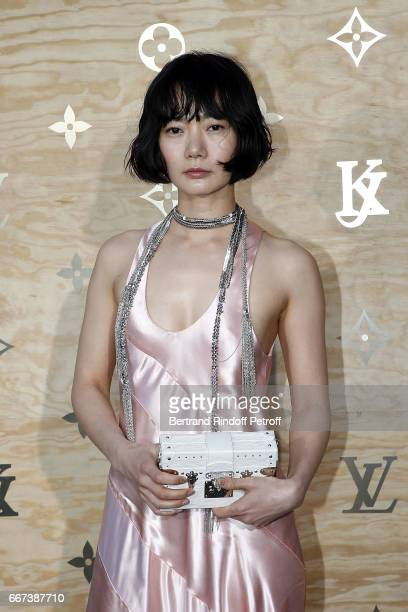 Actress Bae Doona attends the LVxKOONS exhibition at Musee du Louvre on April 11 2017 in Paris France