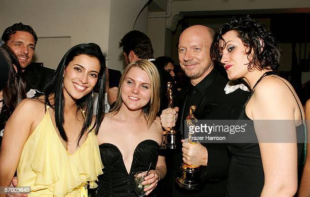 Actress Bahar Soomekh Alissa Haggis Director Paul Haggis with his award for Best Picture for 'Crash' and guest attend the Lions Gate 'Crash' Oscar...