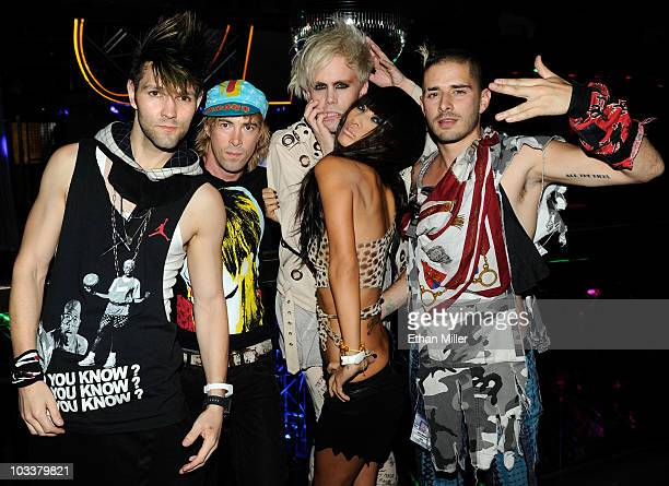 Actress Bai Ling and the band Semi Precious Weapons drummer Dan Crean guitarist Stevy Pyne singer Justin Tranter and bassist Cole Whittle appear at...