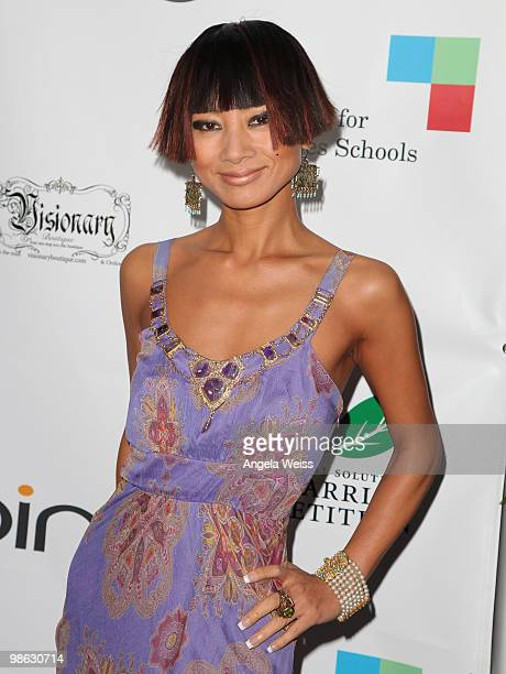 Actress Bai Ling attends the 'Global Home Tree' Earth Day VIP reception hosted by James Cameron at the JW Marriott Los Angeles at LA LIVE on April 22...