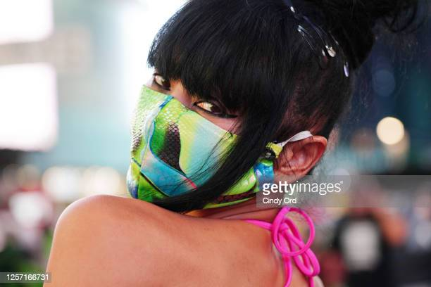 Actress Bai Ling poses for a portrait while wearing a protective mask in Times Square on July 19 2020 in New York City