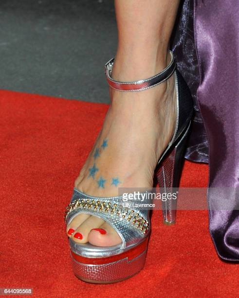 Actress Bai Ling, shoe detail, arrives at 10th Annual Toscars at The Renberg Theatre on February 22, 2017 in Los Angeles, California.