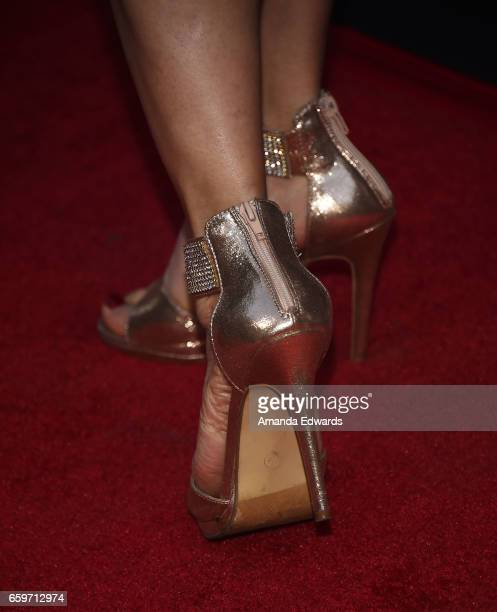"""Actress Bai Ling, shoe detail, arrives at the premiere of AMC's """"Better Call Saul"""" Season 3 at Arclight Cinemas Culver City on March 28, 2017 in..."""