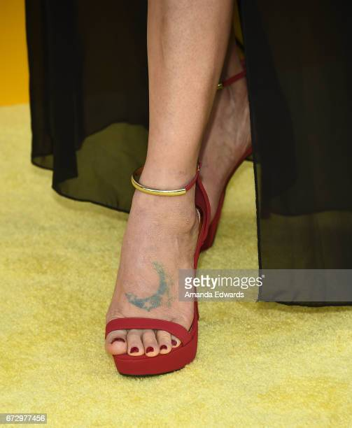 """Actress Bai Ling, shoe detail, arrives at the premiere of National Geographic's """"Genius"""" at the Fox Bruin Theater on April 24, 2017 in Los Angeles,..."""