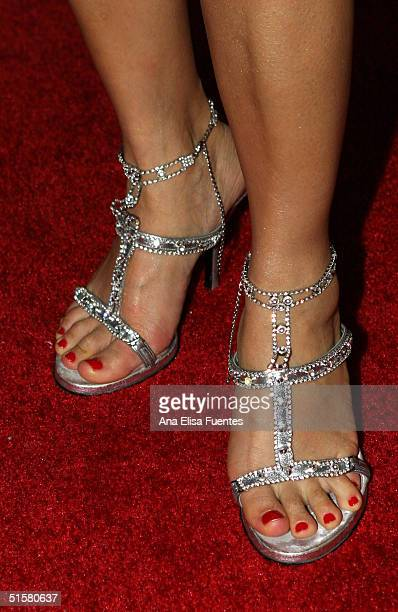 Actress Bai Ling wearing Dolce and Gabbana shoes arrives at the 'Elle Girl and DKNY Jeans honor Fashion Week' at The Concorde October 26 2004 in...