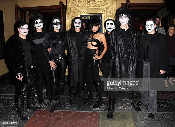 Actress Bai Ling who played Myca in the film poses with fans dressed as The Crow at the Nerds Like Us Presentation of 'The Crow' 20th Anniversary...