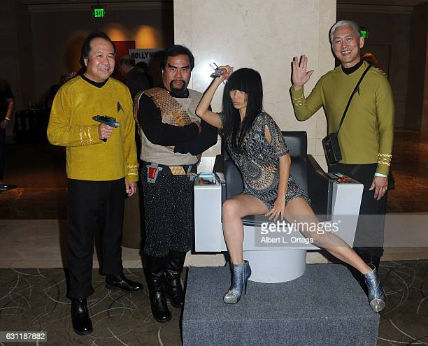 Actress Bai Ling with Star Trek cosplayers David Cheng Bill Arucan and Mark Lum attend The Hollywood Show held at The Westin Los Angeles Airport on...
