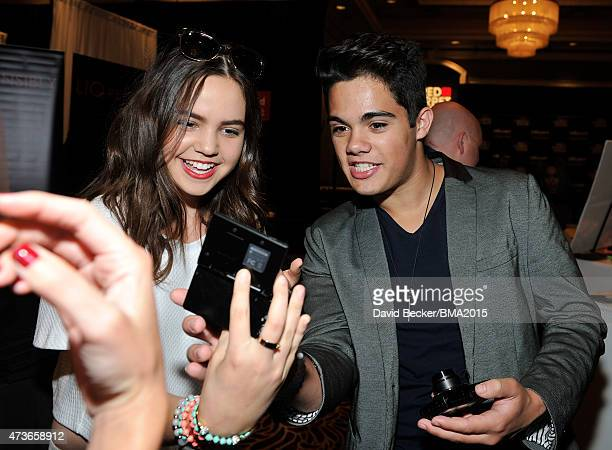Actress Bailee Madison and Emery Kelly of Forever In Your Mind attend the UPS Gifting Lounge during the 2015 Billboard Music Awards at MGM Grand...