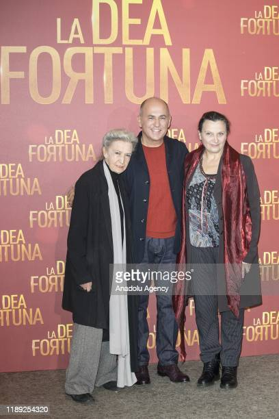 Actress Barbara Alberti director Ferzan Ozpetek and actress Dora Romano attend the photocall of the movie La Dea Fortuna at Four Fountains Cinema in...