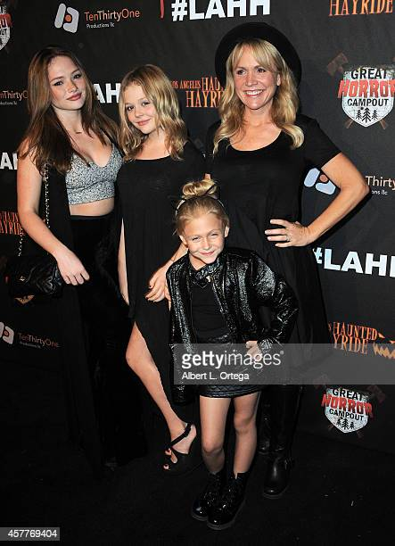 Actress Barbara Alyn Woods and daughters Natalie Emily and Alyvia arrive for the Los Angeles Haunted Hayride held at Griffith Park on October 9 2014...