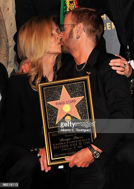 Actress Barbara Bach and husband musician Ringo Starr attend the 2401st Hollywood Walk of Fame Star ceremony honoring musician Ringo Starr on...