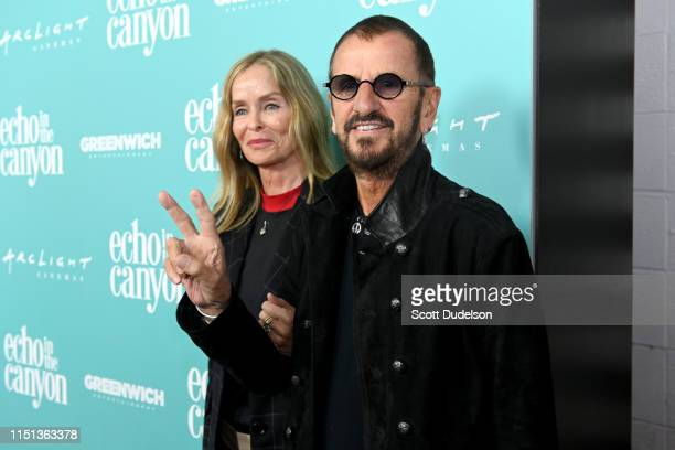Actress Barbara Bach and musician Ringo Starr attend the premiere of 'Echo in the Canyon' at ArcLight Cinerama Dome on May 23 2019 in Hollywood...