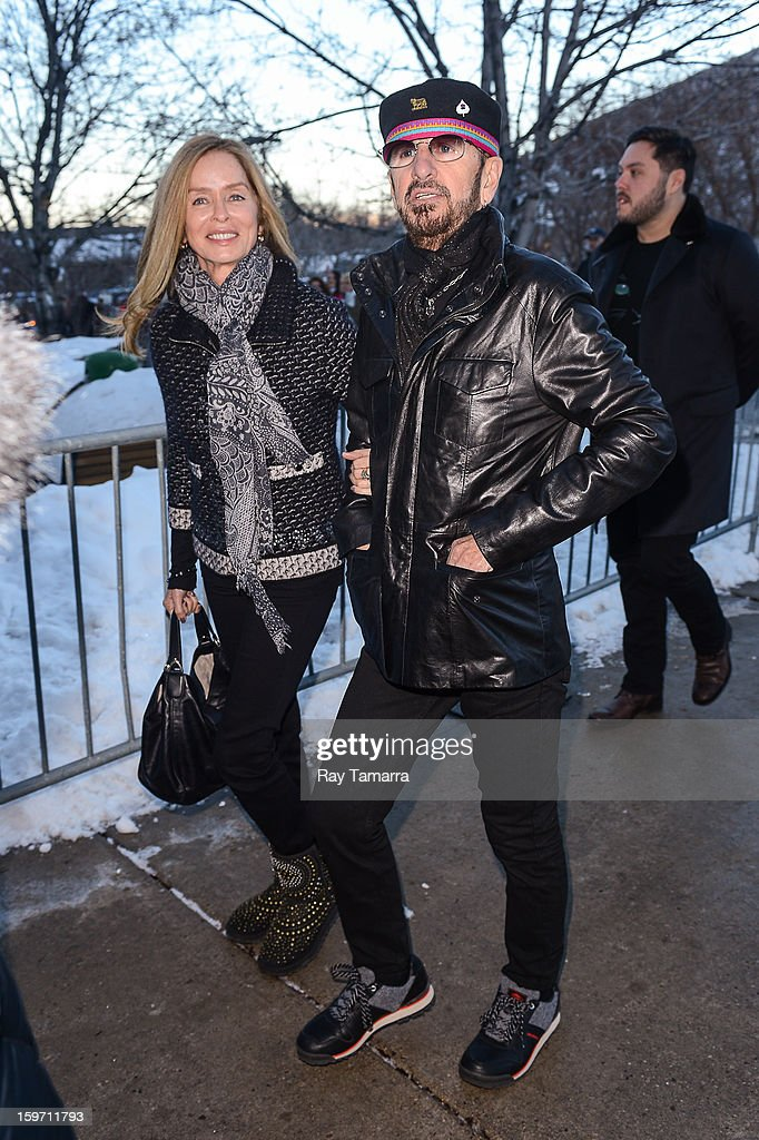 Actress Barbara Bach (L) and musician Ringo Starr enter the Park City Library on January 18, 2013 in Park City, Utah.