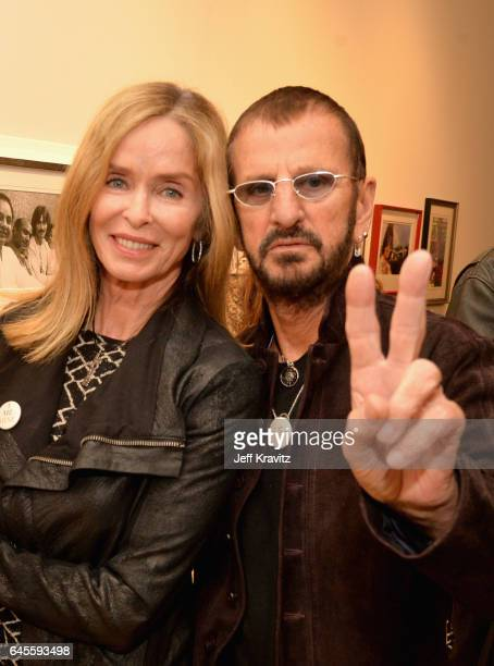 Actress Barbara Bach and recording artist Ringo Starr attend the I ME MINE George Harrison book launch at Subliminal Projects Gallery on February 25...