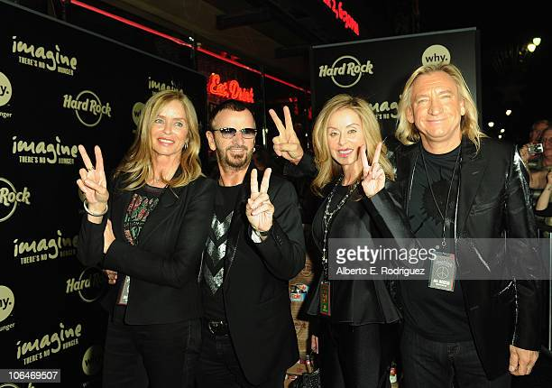 """Actress Barbara Bach, musician Ringo Starr, Marjorie Bach and musician Joe Walsh arrive to Hard Rock's """"Imagine There's No Hunger: Celebrating the..."""