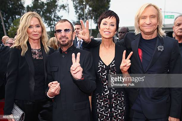 Actress Barbara Bach musician Ringo Starr Marjorie Bach and musician Joe Walsh attend the 56th GRAMMY Awards at Staples Center on January 26 2014 in...