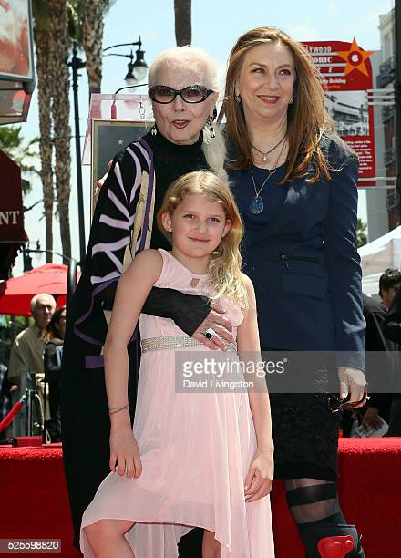 Actress Barbara Bain daughter and granddaughter attend her being honored with a Star on the Hollywood Walk of Fame on April 28 2016 in Hollywood...