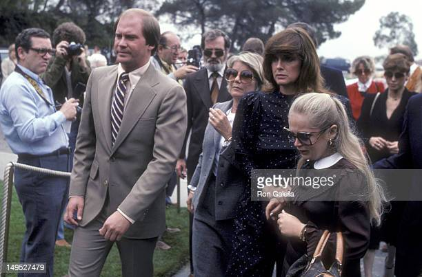 Actress Barbara Bel Geddes actress Linda Gray and actress Charlene Tilton attend Jim Davis Memorial Service on May 1 1981 at the Forest Lawn Memorial...