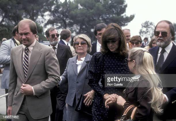 Actress Barbara Bel Geddes actress Linda Gray and husband Ed Thrasher and actress Charlene Tilton attend Jim Davis Memorial Service on May 1 1981 at...
